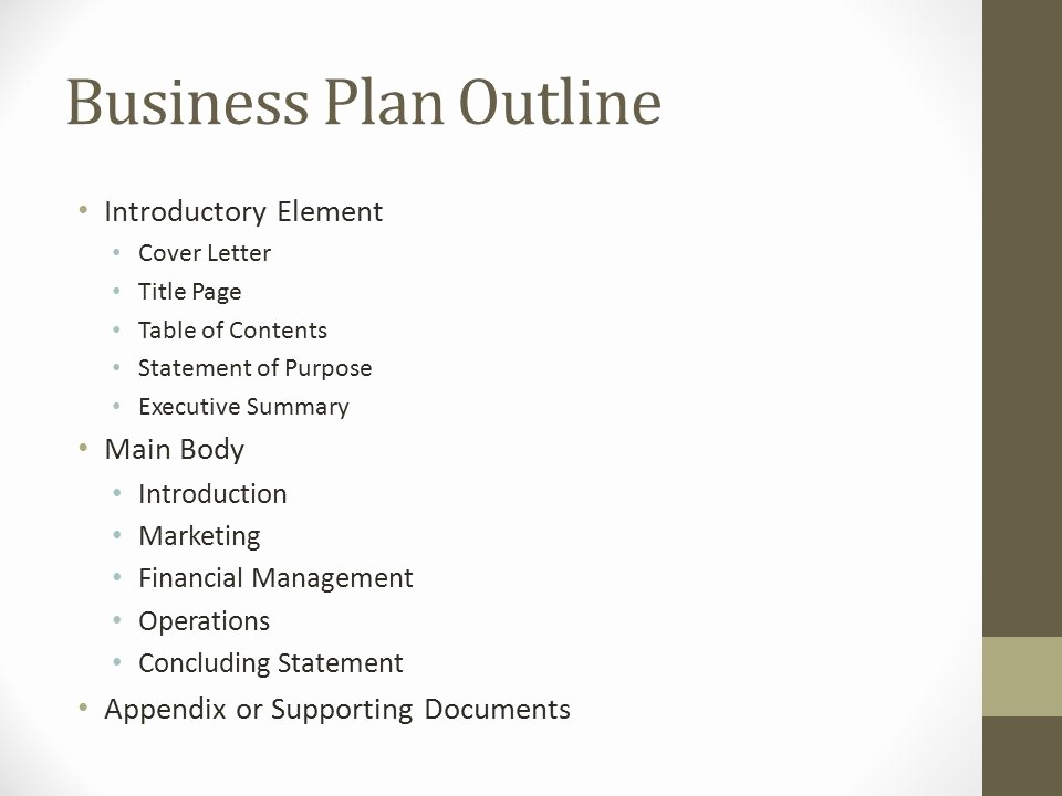 Title Page with Executive Summary Best Of Developing A Business Plan Ppt Video Online