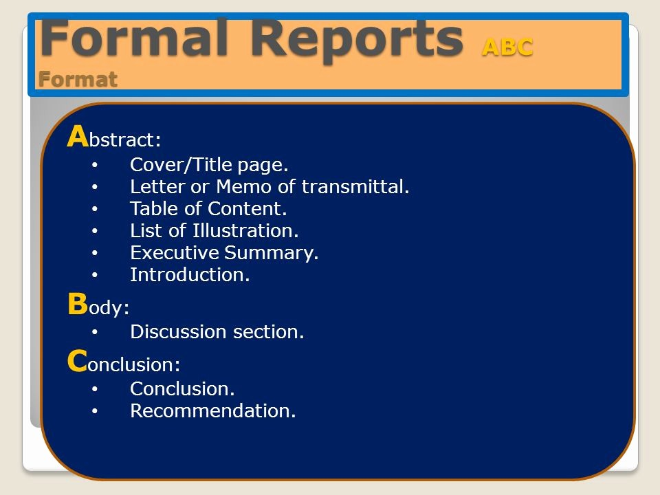 Title Page with Executive Summary Best Of Structure Of formal Reports Chapter 9 Ppt Video Online