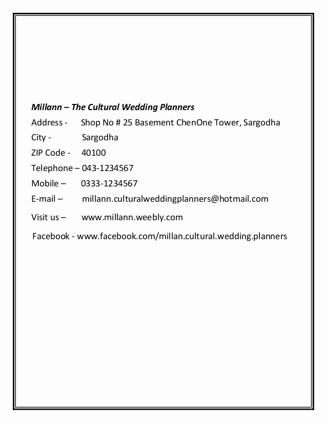 Title Page with Executive Summary Elegant Millann the Cultural Wedding Planners