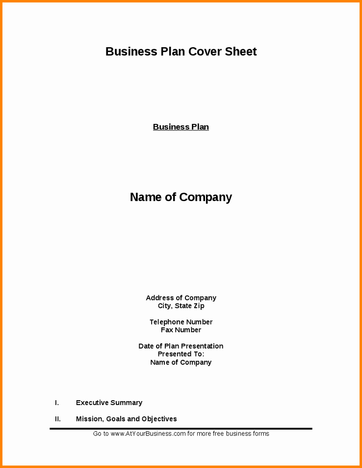 Title Page with Executive Summary Fresh Cover Letter for Business Plan Cover Letter Samples