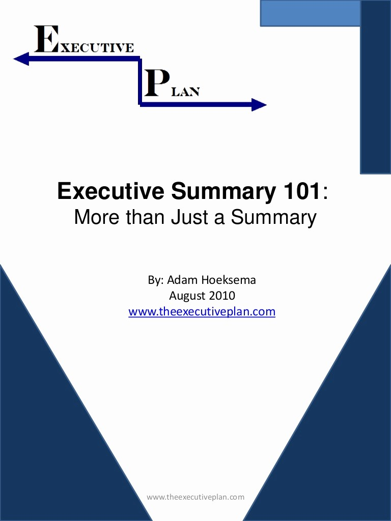 Title Page with Executive Summary Fresh Executive Summary 101