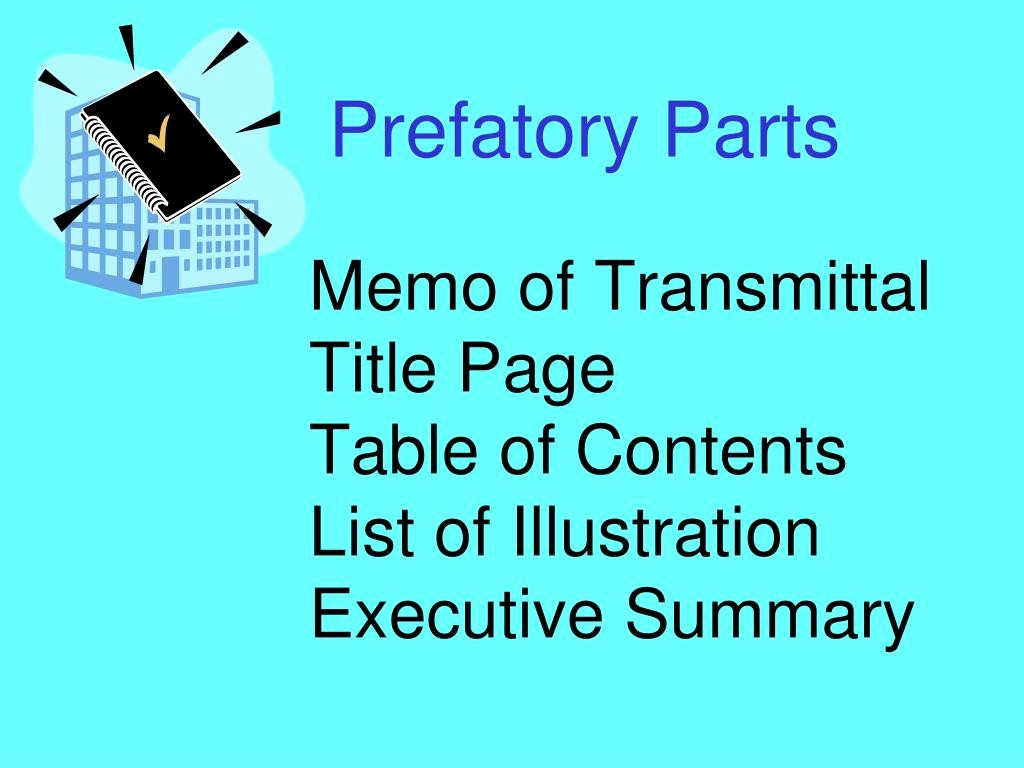 Title Page with Executive Summary New Ppt Memo Of Transmittal Title Page Table Of Contents