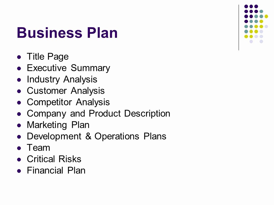 Title Page with Executive Summary Unique Business Plans Marketing Ppt Video Online