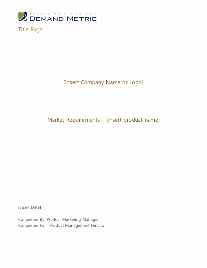 Title Page with Executive Summary Unique Market Requirements Document