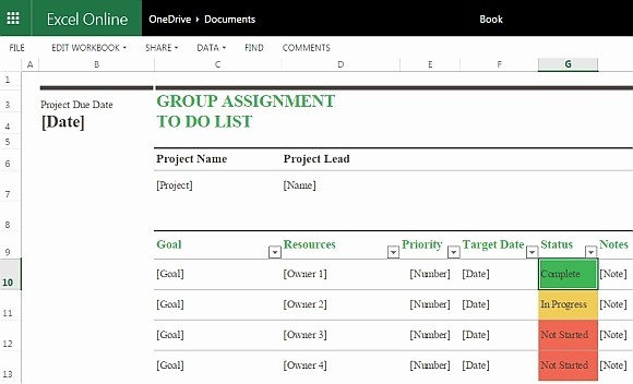 To Do List Excel Template Best Of Group assignment to Do List Template for Excel Line