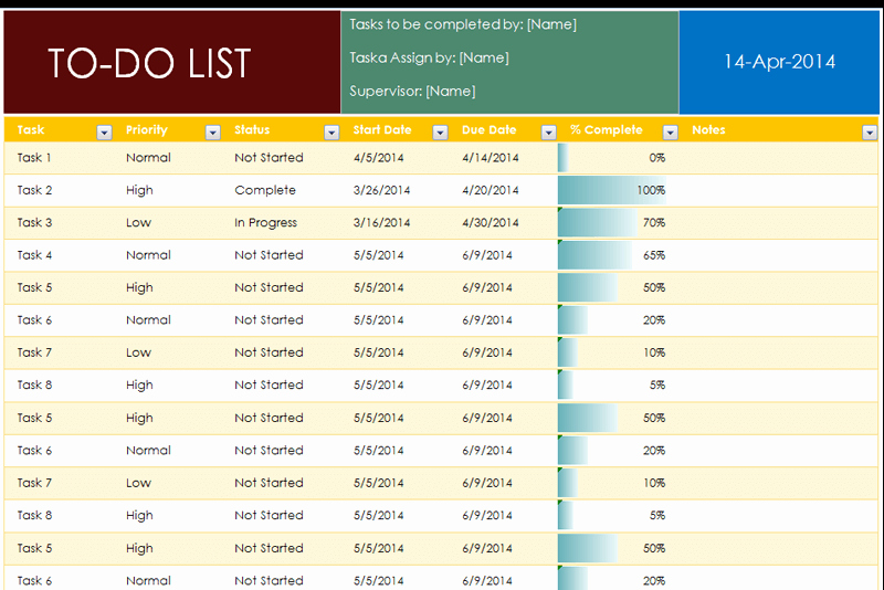 To Do List Excel Templates Awesome to Do List Template with Pletion Percentage Dotxes