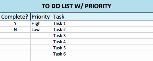 best to do list excel templates