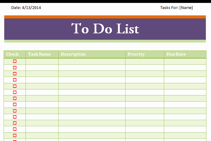 To Do List Excel Templates New Weekly to Do List Template Excel