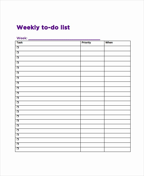 To Do List Free Templates Fresh 9 Weekly to Do List Templates