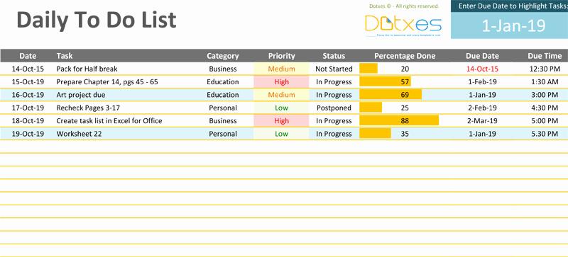 To Do List Templates Excel Elegant Daily to Do List Template Dotxes