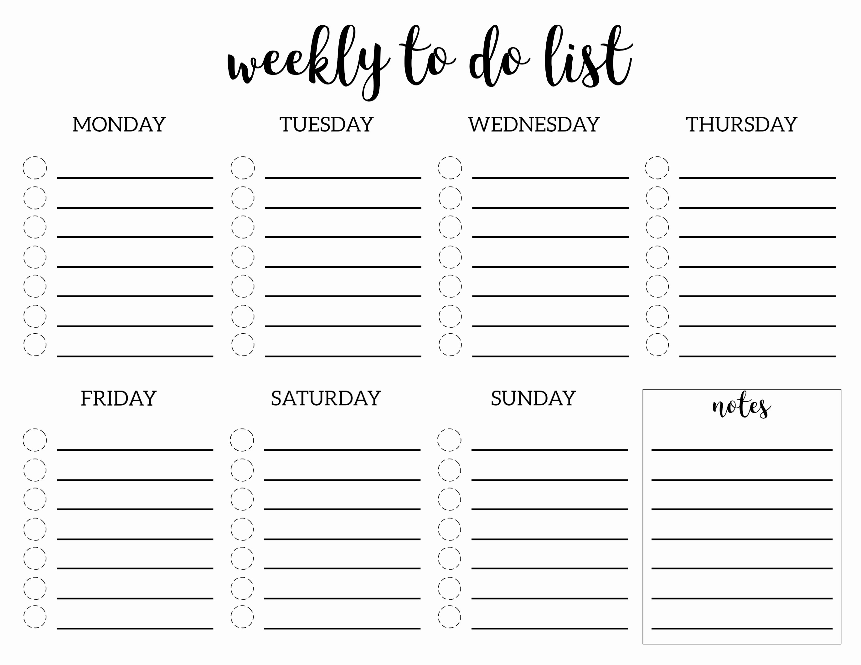 To Do List Weekly Template Awesome Weekly to Do List Printable Checklist Template Paper