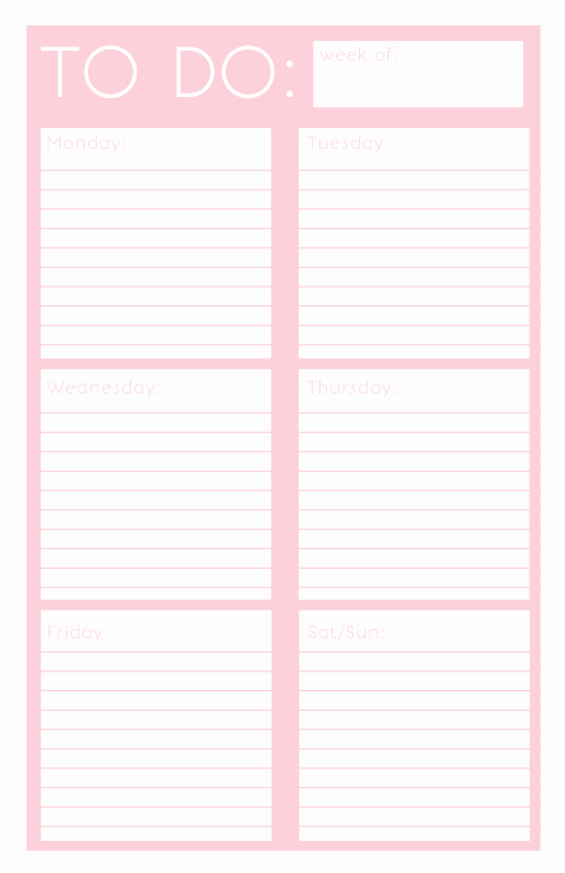 To Do List Weekly Template Best Of 40 Printable to Do List Templates