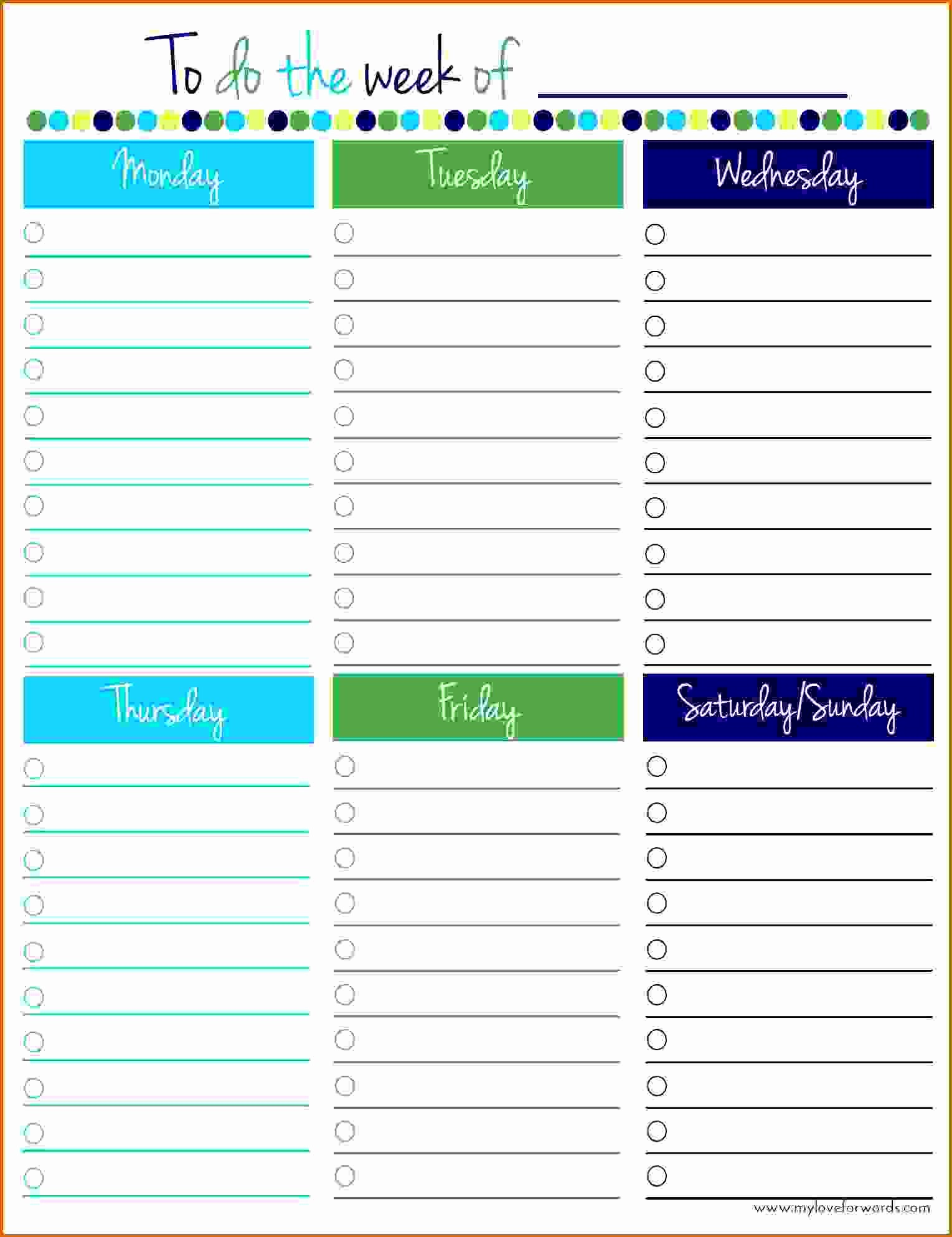 To Do List Weekly Template Fresh 10 Weekly Planner Template Monday to Friday