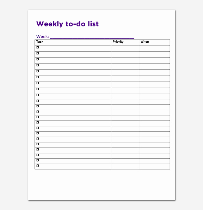 To Do List Weekly Template Fresh Things to Do List Template 20 Printable Checklists