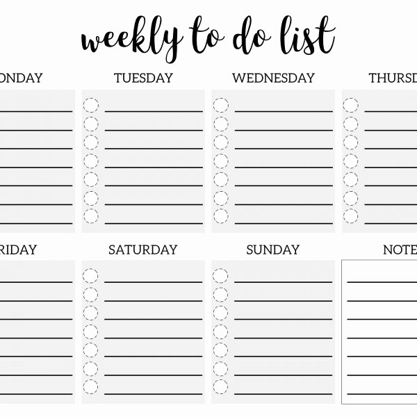 To Do List Weekly Template Inspirational Weekly to Do List Printable Checklist Template – Paper
