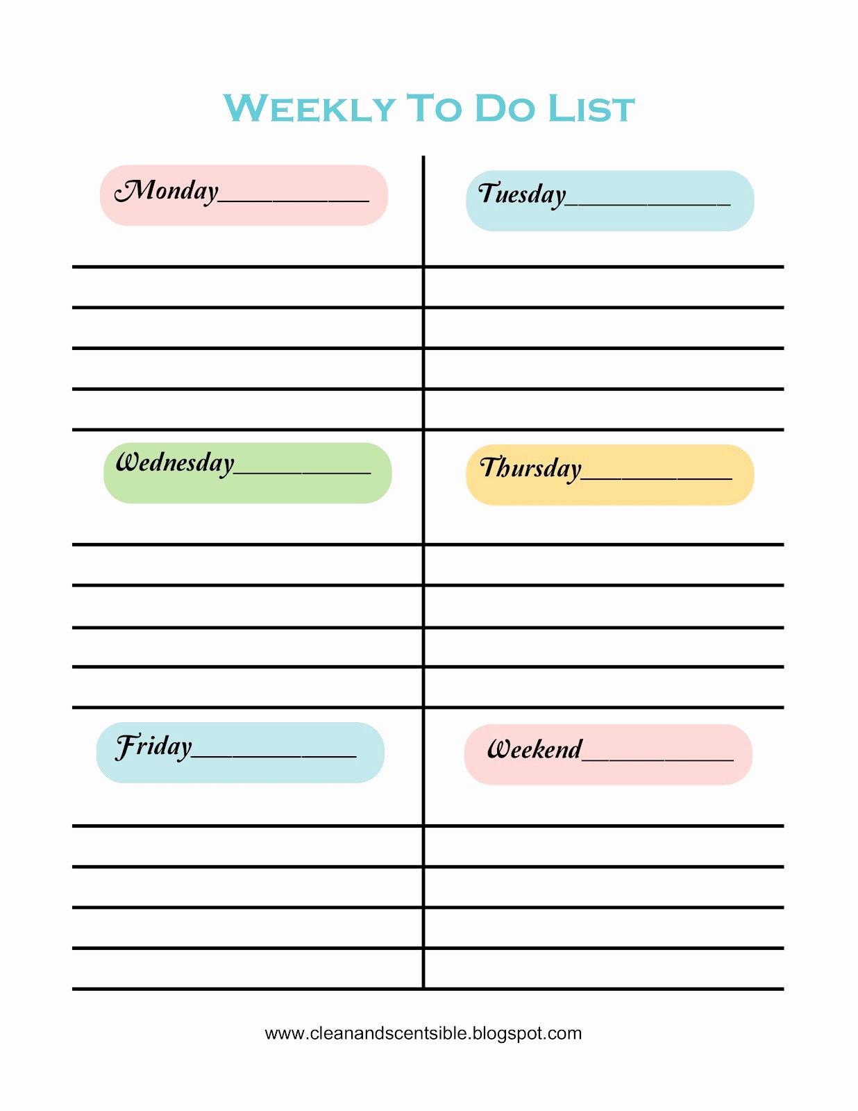 To Do List Weekly Template Lovely Making to Do Lists Fun Clean and Scentsible