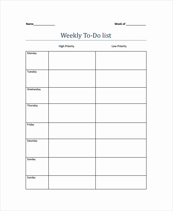 To Do List Weekly Template Luxury 9 Weekly to Do List Templates