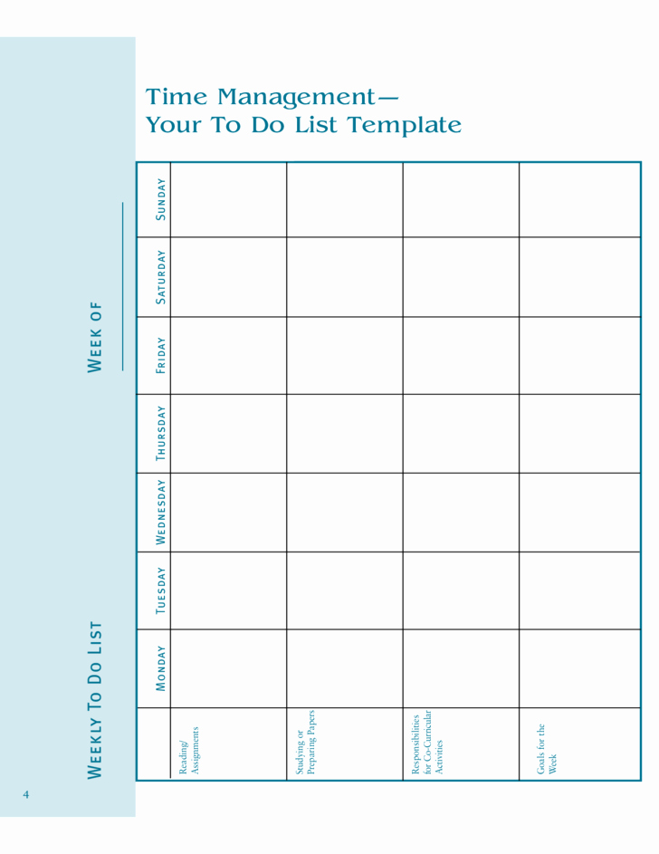 To Do List Weekly Template New Weekly to Do List Template Free Download