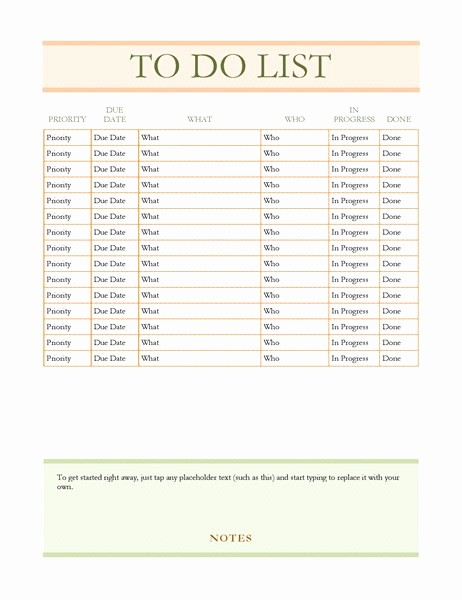 To Do List Word Doc Elegant to Do List