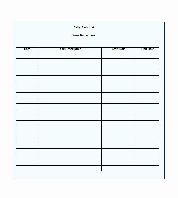 To Do Task List Template Awesome Task List Template 10 Free Word Excel Pdf format