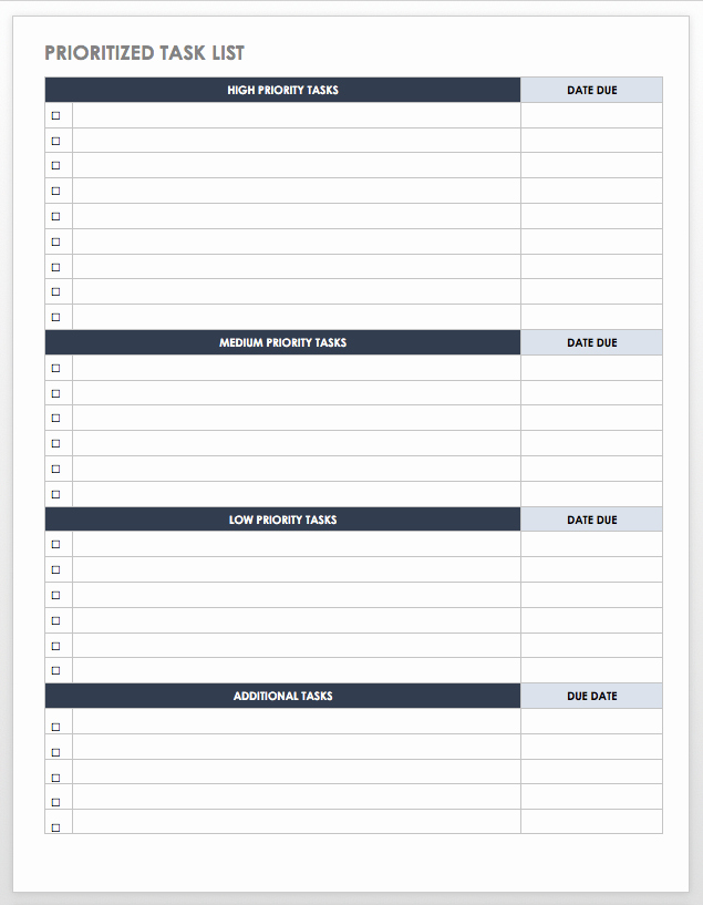 To Do Task List Template Lovely Free Task and Checklist Templates