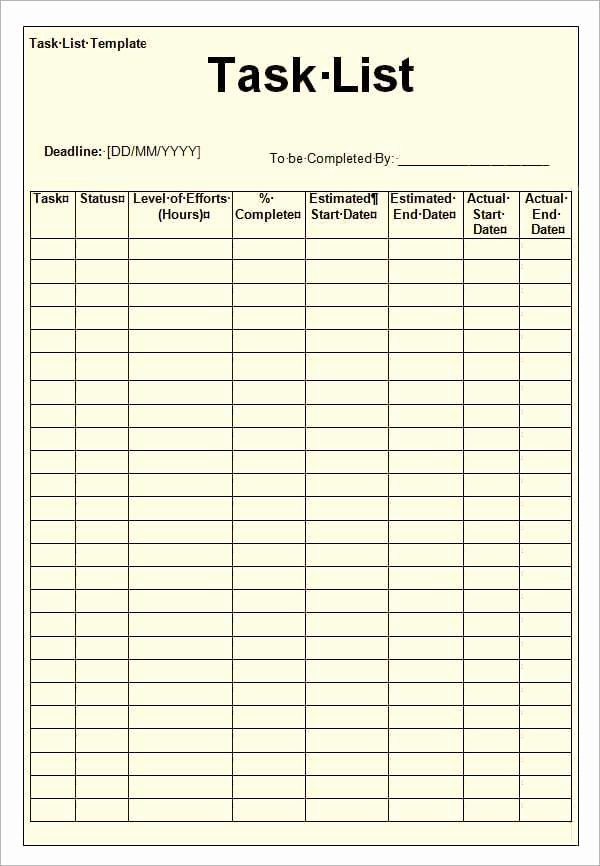 To Do Task List Template Unique 12 Task List Templates Word Excel Pdf formats