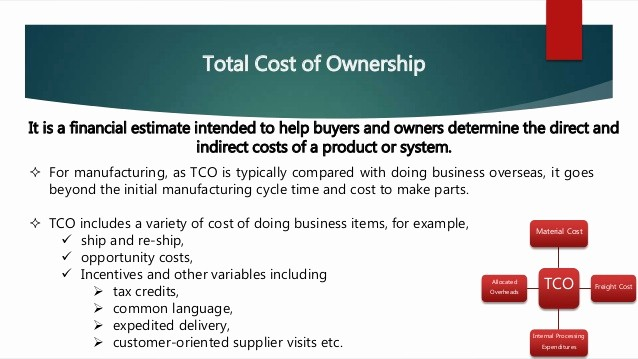 Total Cost Of Ownership Example New Global sourcing