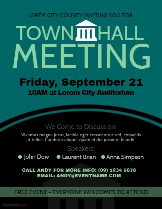 Town Hall Meeting Agenda Template Luxury Munity event Flyer Template Image Collections