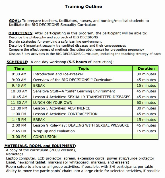 Training Agenda Template Microsoft Word Best Of Training Outline Template 9 Download Free Documents In