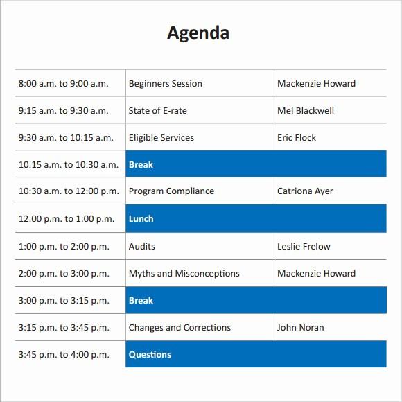 Training Agenda Template Microsoft Word New 8 Training Agenda Samples – Pdf Word