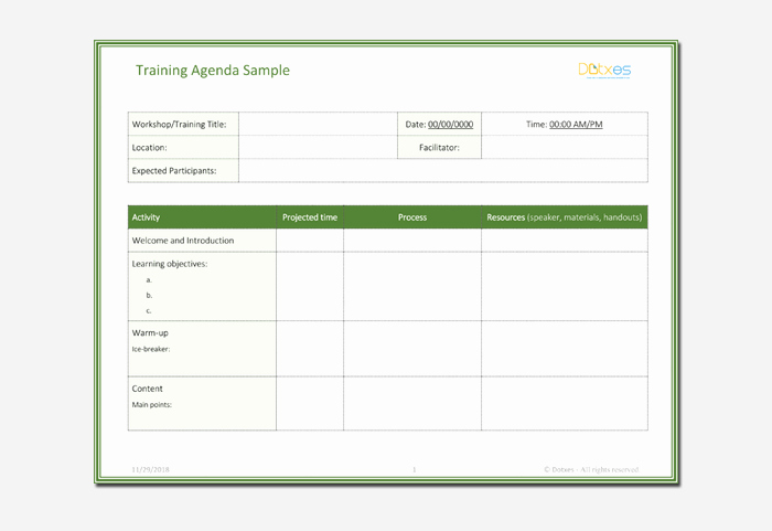 Training Agenda Template Microsoft Word New Agenda Outline Template 10 for Word Excel Pdf format