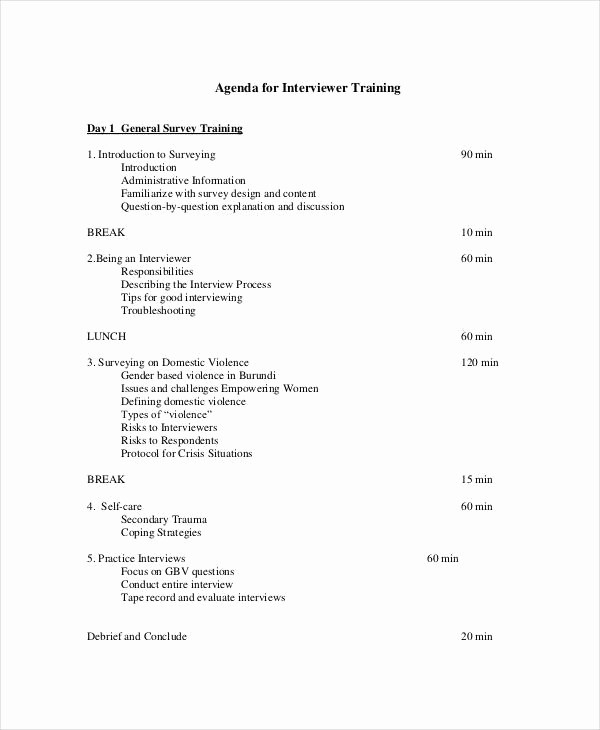 Training Agenda Template Microsoft Word New Interview Agenda Templates 7 Free Word Pdf format