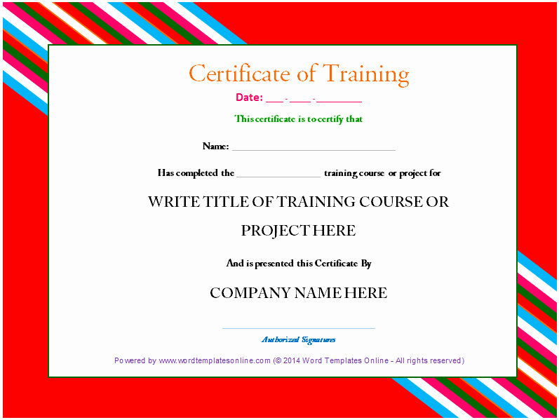 Training Certificate Template Free Download Awesome Free Line Certificate Tmplate