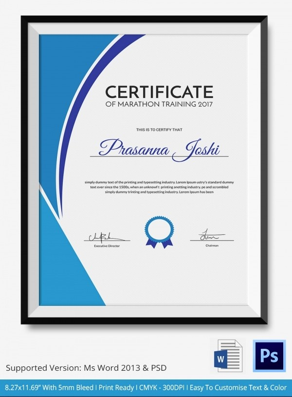 Training Certificate Template Free Download Best Of Marathon Certificate 5 Word Psd format Download
