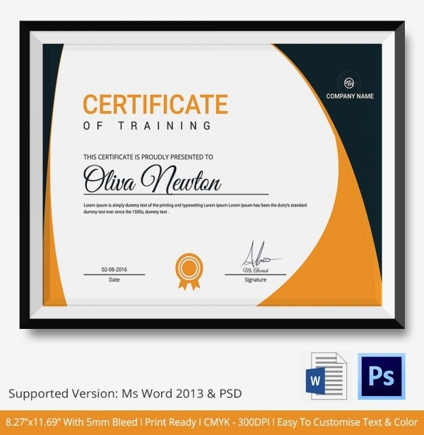 Training Certificate Template Free Download Best Of Training Certificate Template 21 Free Word Pdf Psd
