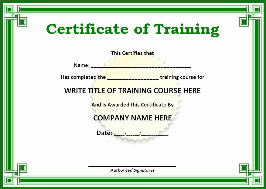 Training Certificate Template Free Download Lovely Certificate Templates