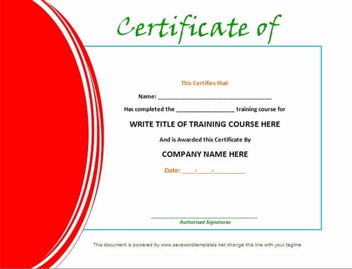 Training Certificate Template Free Download Lovely Training Certificate Template 21 Free Word Pdf Psd