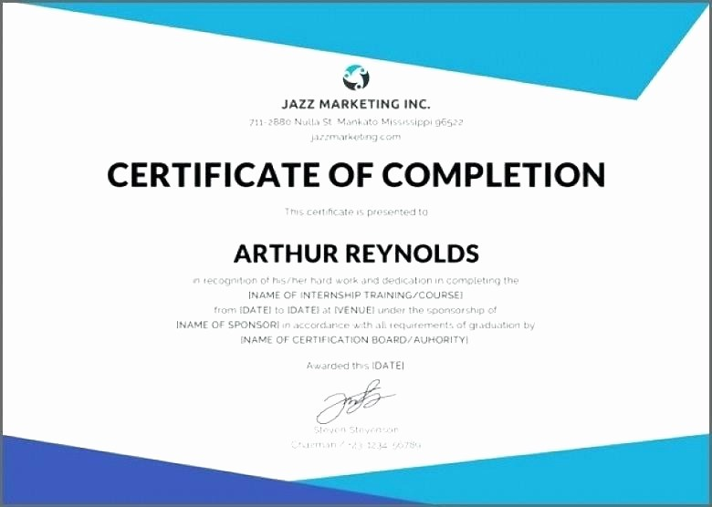 Training Certificate Template Free Download New Course Certificate Template Word Pletion Copy Best S