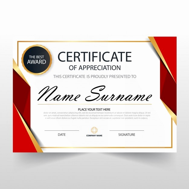Training Certificate Template Free Download Unique Red Horizontal Certificate Template Vector