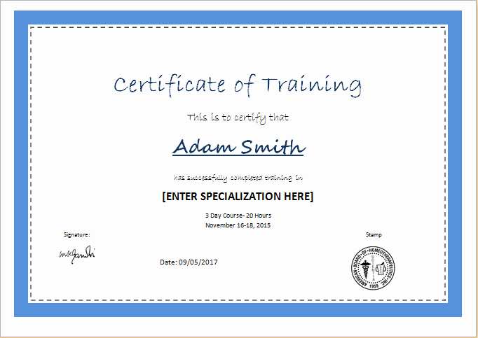 Training Certificates Templates Free Download New Certificate Of Training Template for Ms Word
