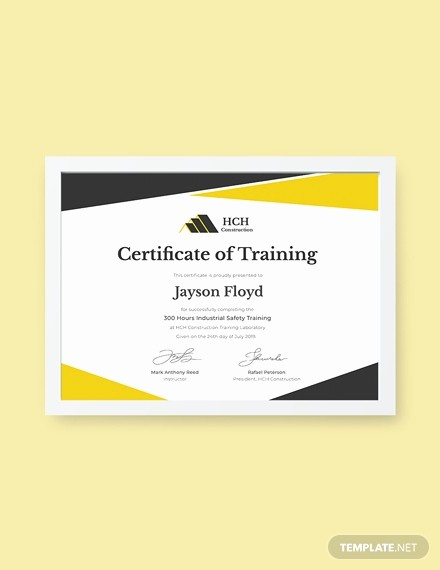 Training Certificates Templates Free Download New Free Industrial Training Certificate Template Download