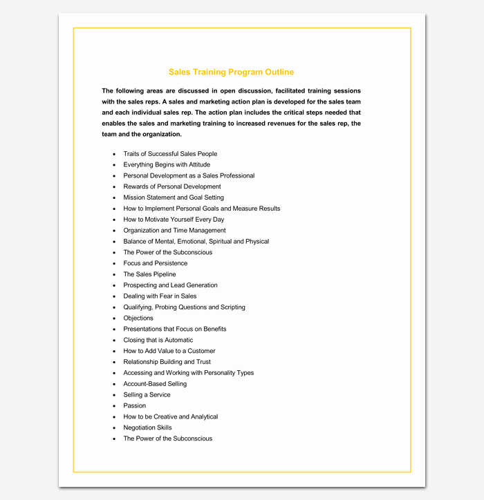 Training Course Outline Template Word Awesome Program Outline Template 14 Sample Example & format