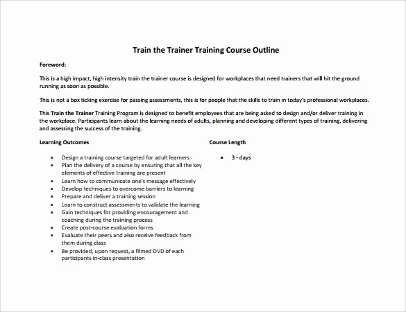 Training Course Outline Template Word Best Of 8 Amazing Training Outline Templates to Download for Free