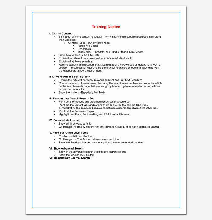Training Course Outline Template Word Elegant Training Course Outline Template 24 Free for Word & Pdf