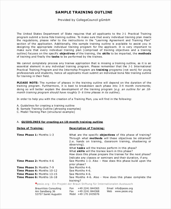 Training Course Outline Template Word Elegant Training Outline Template