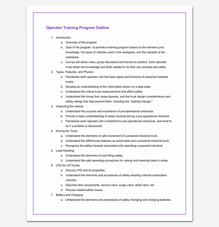 Training Course Outline Template Word Elegant Training Program Outline Template 19 for Word & Pdf