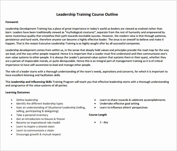 Training Course Outline Template Word Fresh 14 Training Course Outline Template Doc Pdf