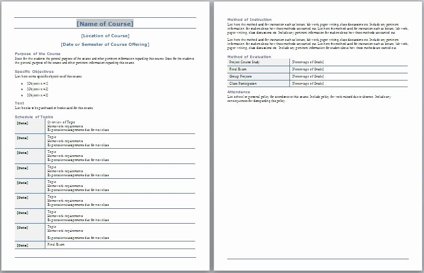Training Course Outline Template Word Inspirational Tips to Prepare Classroom Syllabus Frompo