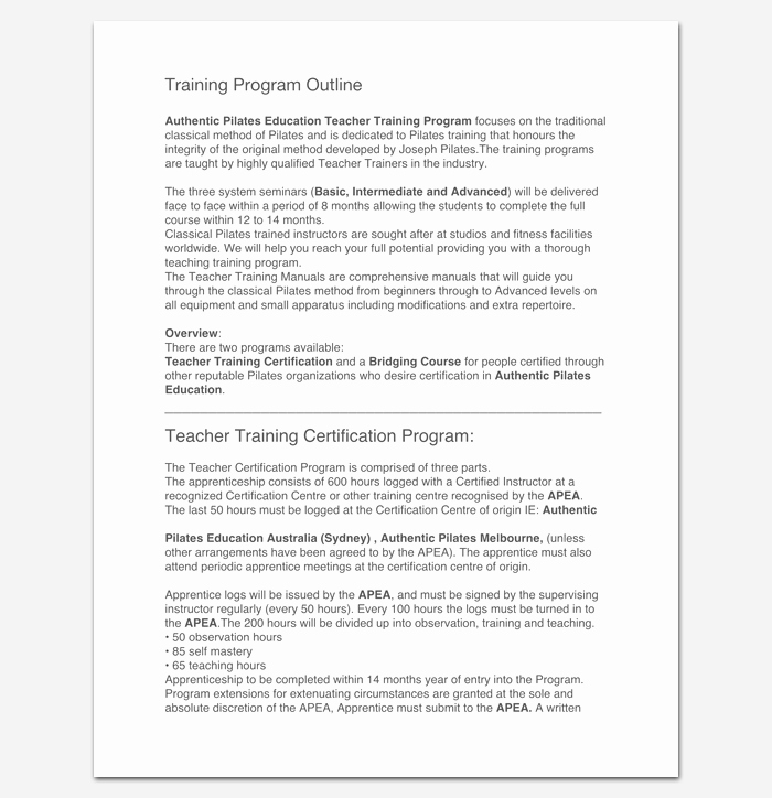 Training Course Outline Template Word Inspirational Training Program Outline Template 19 for Word & Pdf