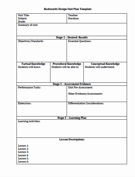 Training Lesson Plan Template Word Beautiful the Idea Backpack Unit Plan and Lesson Plan Templates for